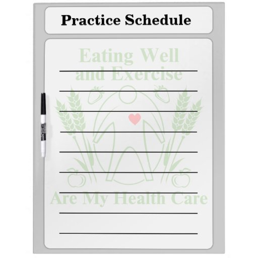 Eating Well and Exercise are My Health Care Dry-Erase Boards