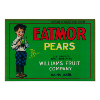 Eatmor Pear Crate LabelYakima, WA Print
