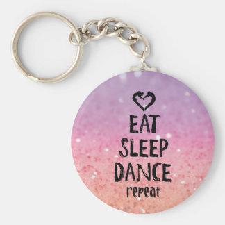 EatSleepDanceglitter.jpg Basic Round Button Keychain