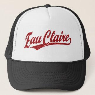 Eau Claire script logo in red Trucker Hat