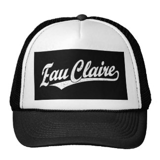 Eau Claire script logo in white distressed Trucker Hat