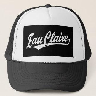 Eau Claire script logo in white distressed Trucker Hat