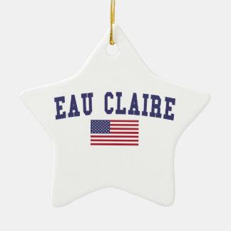 Eau Claire US Flag Ceramic Ornament