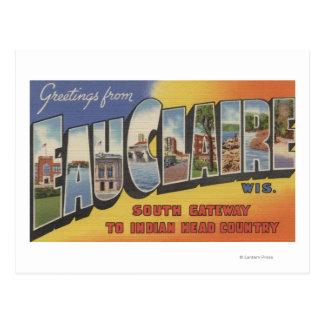 Eau Claire Wisconsin - Large Letter Scenes Postcard