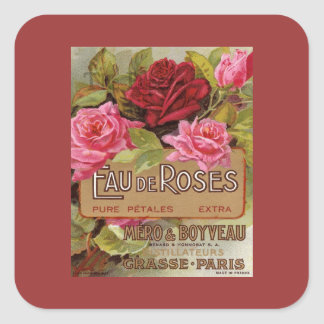 Eau De Roses French Scent Square Sticker