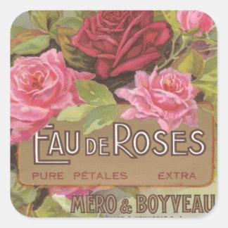 Eau de Roses Stickers Pegatina Cuadrada