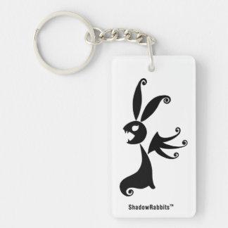 Ébano el conejo de la sombra llavero rectangular acrílico a doble cara