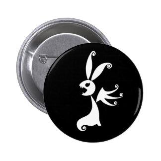 Ébano el conejo de la sombra pin redondo de 2 pulgadas