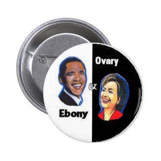 Ébano y botón del ovario pin redondo de 2 pulgadas