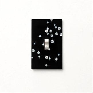 Ébano y diamantes blancos cubiertas para interruptor