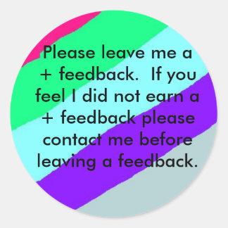 Ebay Feedback Stickers. Please Leave feedback Classic Round Sticker
