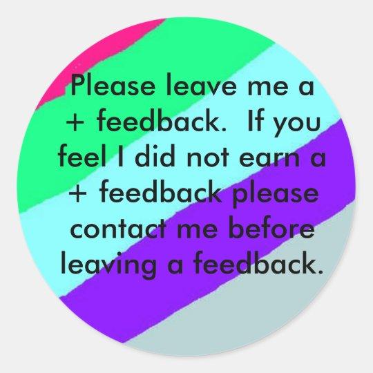 Ebay feedback stickers please leave feedback classic round sticker