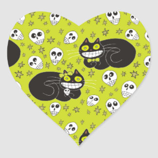 Ebbie and Elsie 2 Black Cats in Lime Green Heart Sticker