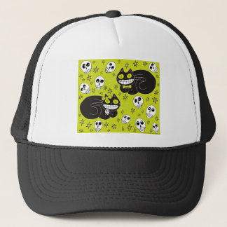Ebbie and Elsie 2 Black Cats in Lime Green Trucker Hat