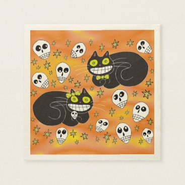 Halloween Themed Ebbie and Elsie 2 Black Cats Napkin