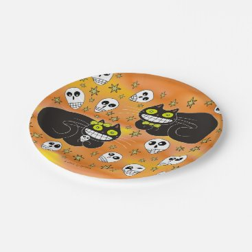 Halloween Themed Ebbie and Elsie 2 Black Cats Paper Plate