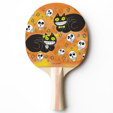 Halloween Themed Ebbie and Elsie 2 Black Cats Ping-Pong Paddle