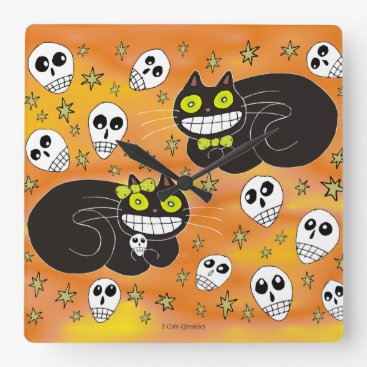 Halloween Themed Ebbie and Elsie 2 Black Cats Square Wall Clock