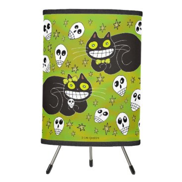 Halloween Themed Ebbie and Elsie 2 Black Cats Tripod Lamp