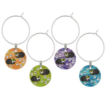 Halloween Themed Ebbie and Elsie 2 Black Cats Wine Glass Charm