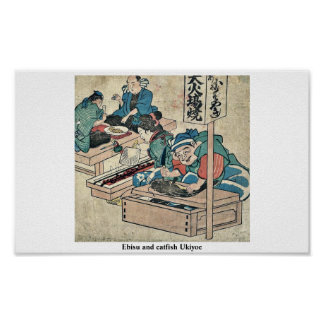 Ebisu and catfish Ukiyoe Poster