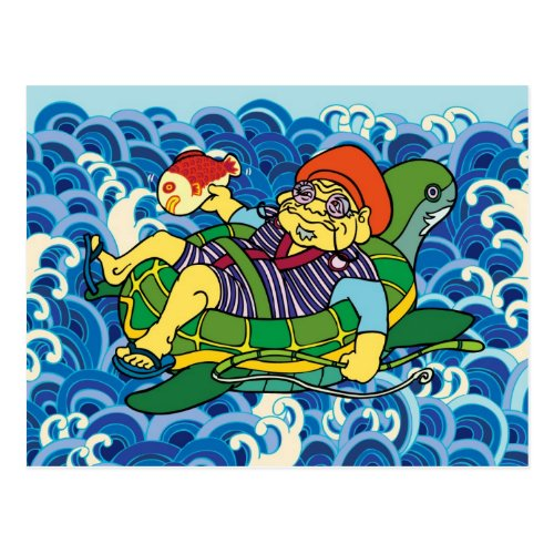 Normal summer, Hot season, Lingering summer heat, Post card, The god of wealth, Turtle, Sea bream, Seven luck God, Inquiry, ebisu, shichifukujin, turtle, sea, bream, fish, summer, wave, madrid, guadalajara, toronto, otaku, manga, samurai, pop, japan, japanese, art, illustration, tokyo, edo, akihabara, Edo, Japan