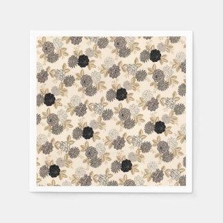 Ebon Fleurs Paper Napkin