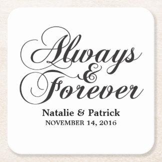 Ebony Always & Forever Wedding Paper Coasters