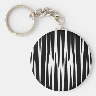 EBONY AND IVORY zebra stripe (abstract art design) Basic Round Button Keychain
