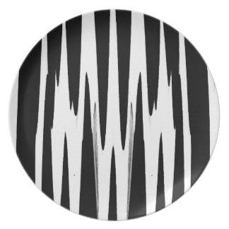 EBONY AND IVORY zebra stripe (abstract art design) Dinner Plate