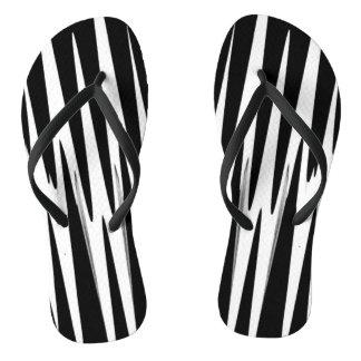 EBONY AND IVORY zebra stripe (abstract art design) Flip Flops