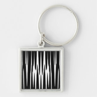 EBONY AND IVORY zebra stripe (abstract art design) Silver-Colored Square Keychain