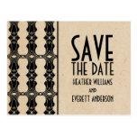 Ebony Art Deco Border Save the Date Postcard
