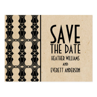 Ebony Art Deco Border Save the Date Postcard