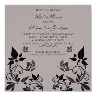 Ebony Butterfly Floral Bridal Shower Invite
