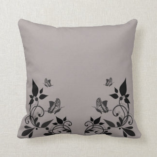 Ebony Butterfly Floral Pillow