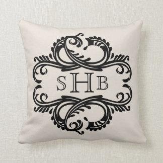 Ebony Chic Damask Monogram Pillow