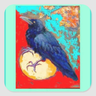 Ebony Crow & Egg w/Turquoise by Sharles Square Stickers