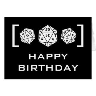 Ebony D20 Dice Gamer Birthday Card