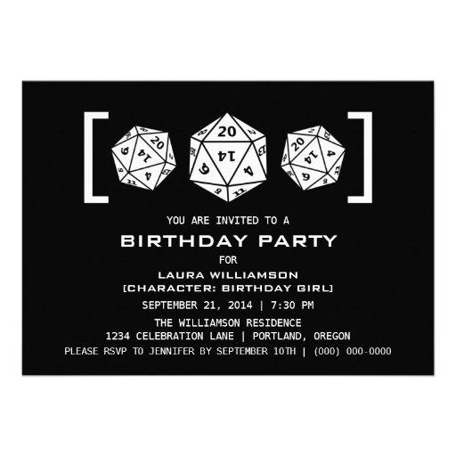 Ebony D20 Dice Gamer Birthday Party Invite