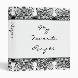 Ebony Damask Recipe Book Binders