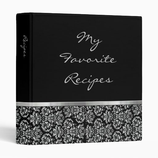 Ebony Damask Ribbon Recipe Book 3 Ring Binder