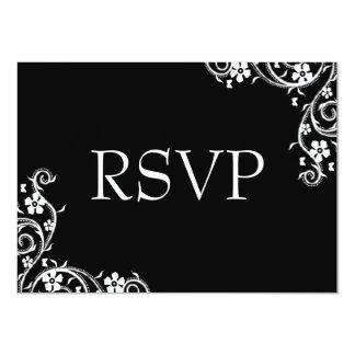 Ebony Floral Swirls RSVP Card
