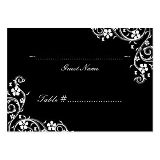 Ebony Floral Swirls Wedding Seating Card Large Business Cards (Pack Of 100)