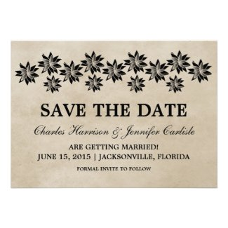 Ebony Floral Vintage Save the Date Invite