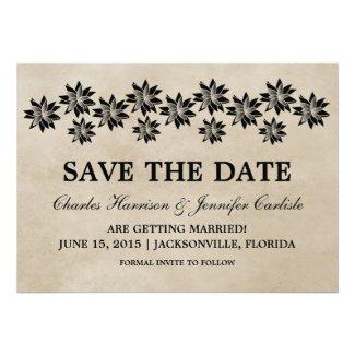 Ebony Floral Vintage Save the Date Invite