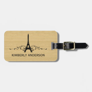 Ebony French Flourish Luggage Tag