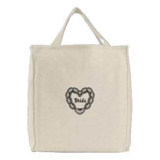 Ebony Heart - Bride Embroidered Tote Bag