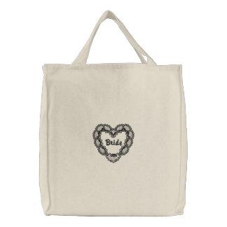 Ebony Heart - Bride Embroidered Tote Bag