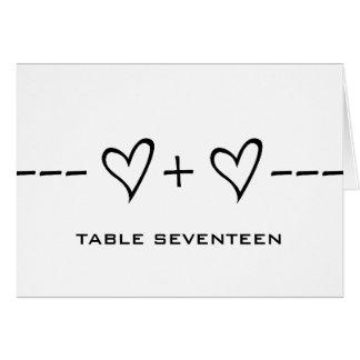 Ebony Heart Equation Table Number Card